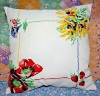 Vintage Wilendur Rosemead Floral Strawberries Farmhouse Tablecloth Throw Pillow