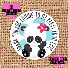 Personalised 24 panda party bag stickers sweet cone birthday pib
