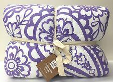 NEW Pottery Barn TEEN Garden Paisley Reversible Stripe TWIN XL Comforter~PURPLE