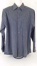 CALVIN KLEIN Men's Dress Shirt 17 34-35 XL Black Gray Striped Button Down Cotton