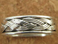 Genuine 925 Sterling Silver Thumb / Finger / Woven Rope Ring MENS / LADIES