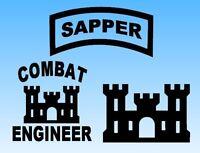 SAPPER, Combat Engineer & Castle Vinyl Window Sticker Decals 3x Pieces
