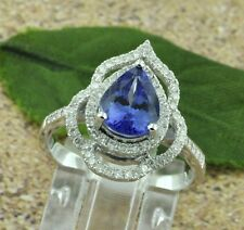 14k Solid White Gold Natural Diamond & AAAA Pear shape Tanzanite Ring 2.10 ct