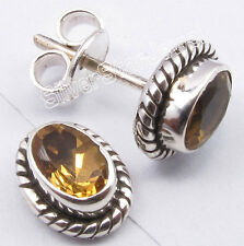 """925 Sterling Silver Classic CITRINE Oxidized VINTAGE STYLE Studs Earrings 0.4"""""""