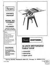 Sears Craftsman  Table Saw Manual Model # 113.298051