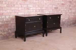 Thomasville Hollywood Regency Chinoiserie Black Lacquered Nightstands,Refinished