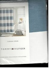 Tommy Hilfiger Cabana Stripe Blue White Fabric Shower Curtain  New