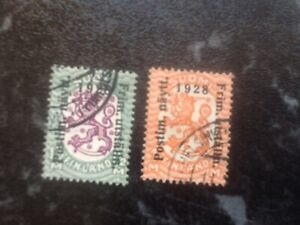 FINLAND PAIR 1928 OVERPRINT USED STAMPS