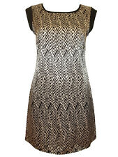 Aztec Dash Print Satin Shift Dress by //text 10 12 14 18 20 New Fitted