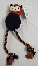 Dog Toy 3 in 1 Plush Rope Ball 15 Inch Brown and Black Fox