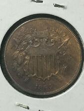 us 1864 Two Cent Piece AU RB Large Motto