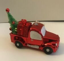 Red Pick Up truck with tree and Christmas gift Holiday Time Ornament