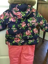 Carters Nwt Size 12 M Girls Blue Pink & Green Floral 2pc Snowsuit MSRP $90.00