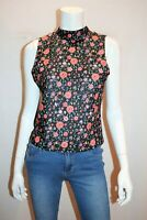 VALLEYGIRL Brand Black Floral Sleeveless Tank Top Size L BNWT #RL19