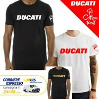 T-Shirt Ducati uomo Maglia moto nera cotone 100% maglietta