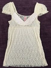 FREE PEOPLE Anthropologie Ivory Cream Sheer Lace Blouse Shirt Size Small