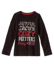 "NWT Gymboree Holiday Shop Black Top Sz 7 ""Joyful Snowy Cozy"""