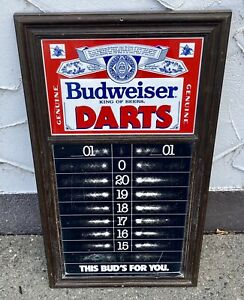 Vintage Budweiser Beer Darts Scoreboard Chalkboard sign Display 70's 80's