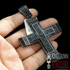 RAPPER STYLE EPIC ICY CUSTOM CROSS CHARM PENDANT BLACK GOLD FINISH LAB DIAMOND
