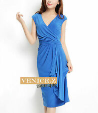 Knee Length Polyester Work Wrap Dresses
