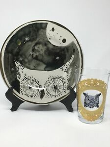 ANTHROPOLOGIE Owl Plate And Glass NOS HTF
