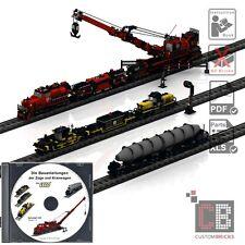 CB Eigenbau Bauanleitung Zug Train Kran Waggon Eisenbahn MOC für LEGO® Steine