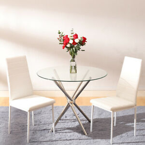 Glass Round Dining Table Set And Chairs Faux Leather Modern Chrome Legs Kitchen