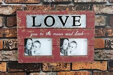"Handmade Love you to the Moon and Back Metal/Wood Chunky Photo Frame 10.25""H"