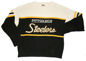 Vtg 80s PITTSBURGH STEELERS Knit Sweater PRO ELITE 1980s Made in USA Mens : XL