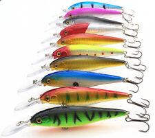 Fishing Lure Minnow Bait Tackle Long Tongue Plate Crank Bait 11cm /10.5g 10Pcs