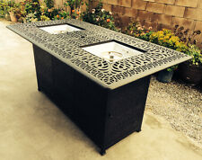 Outdoor Propane Fire Pit bar height double burner table Elisabeth aluminum patio