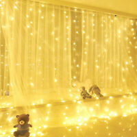 300 LED Window Curtain String Fairy Light USB Wedding Indoor Outdoor Christmas