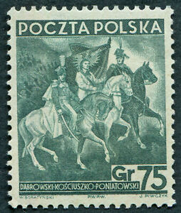 POLAND 1938 75g blue-green SG345 mint MH NG Independence Anniversary #A06