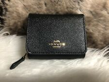 Coach F37968 Small Trifold Wallet Leather Black