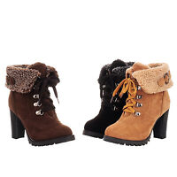 hana Womens Furry Winter Lace up Ladies shoes Grip Sole Fur Lined ankle Boots