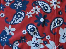 vintage vtg cotton fabric material MOD 60s 70s red white blue floral paisley 2yd