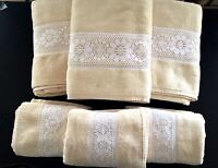 Vintage CANNON MONTICELLO TOWELS Set of 6 Cream Towels with White Lace
