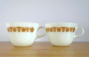 Pyrex Butterfly Gold White Glass Coffee Mug Cup Vintage Corning Set of 2