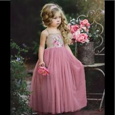 NWT Dollcake Boutique April Tulle Dusty Pink Floral  Party Dress Girls sz 4