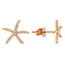 14K ROSE GOLD MICRO PAVE DIAMOND STARFISH SEA STAR FISH STUD EARRINGS