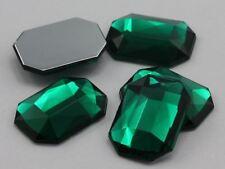 10X8mm Green Emerald A10 Flat Back Octagon Acrylic Gemstones - 70 PCS