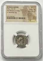 Roman Empire Otho AD 69 Silver Denarius NGC F #8 Of The Twelve Caesar's