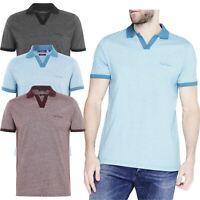 Pierre Cardin Mens Resort Polo Shirt Short Sleeve V-Neck Collar Casual Tee Tops
