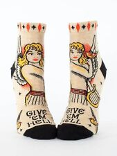 Women's Ankle Socks, Give 'Em Hell, Blue Q, Cotton, One Size, Funny, Novelty