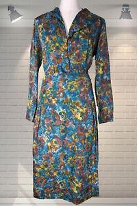 Authentic Vintage 1940s Rayon Shirt Waist Dress - TLC Make Do & Mend Wartime WW2