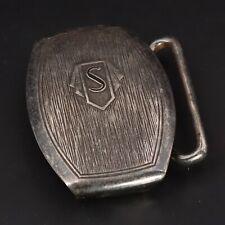 "New listing Vtg Sterling Silver - Antique Textured Letter S Initial 1"" Belt Buckle - 17.5g"