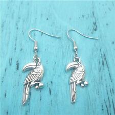 Parrot animal silver earrings,women Fashion Retro pendants ear stud gift