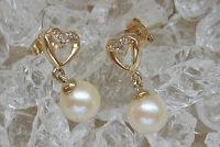 Prettyღ♥ Diamant Ohrringe in aus 14kt 585 Gold mit Perle Ohrstecker Perlen pearl