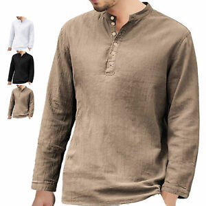 Men's Linen Loose Henley T-Shirt Casual Long Sleeve V Neck Hippie Beach Tops