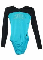 NWT GK Elite Gymnastics Long Sleeve Leotard Blue Black Adult Extra Small AXS